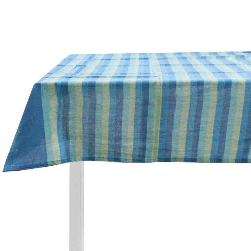 Tovaglia in cotone art. sardinia x12 azzurro/blu/giallo chiaro 140x240cm
