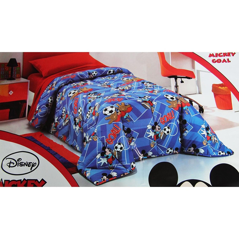 Piumone Matrimoniale Disney.Piumone Trapunta Microfibra Disney 1p Mickey Goal Blu Singola