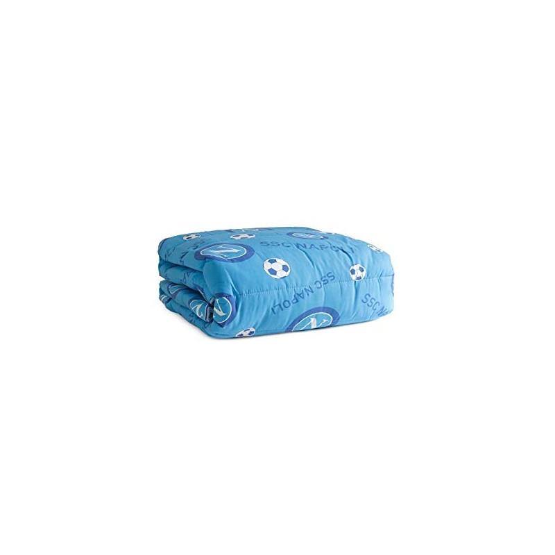 Trapuntino microfibra ssc napoli 1p singolo azzurro con logo e pallone