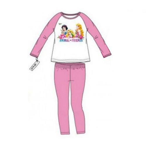 Pigiama lungo in cotone disney princess - 8 ANNI - Bianco/rosa