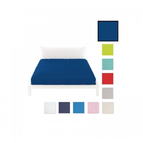 Lenzuolo sotto c/angoli marta marzotto tinta unita 1p 90x200cm blu navy singolo