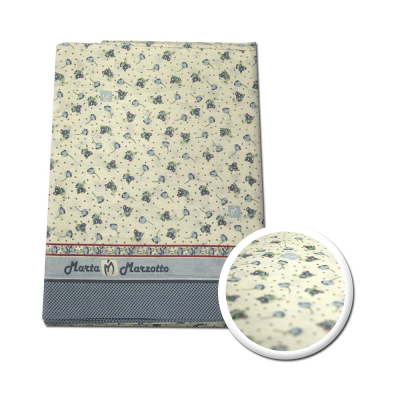 Completo letto marta marzotto singolo 1p grigio/avorio con fiorellini