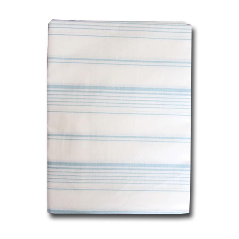 Tovaglia misto lino art. quadri x6 bianca con strisce azzurre 140x180cm