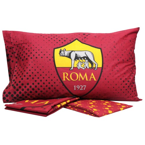 Completo letto as roma singolo 1p giallo/rosso